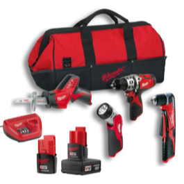 Milwaukee M12 !2V 4 dels s�t 3.0 & 1.5Ah batterier