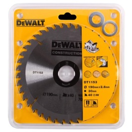 Dewalt klinge 190mm x 30mm(hul)  40T Construction