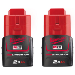 Milwaukee 12V Li-Ion batterier M12B2 2.0Ah 2 stk
